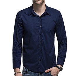 $enCountryForm.capitalKeyWord NZ - John's Bakery Men Shirt Brand 2018 Male Large Size Long Sleeve Shirts Casual Hit Color Slim Fit Blue Mens Social Dress Shirts