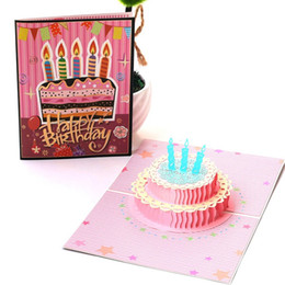 post card envelope wholesale Australia - 3D Pop UP Cards Birthday Card for Girl Kids Wife Husband Birthday Cake Greeting Card Postcards Gifts Card with Envelope Stickers