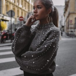 Korean style sweater online shopping - SAGACE Korean Style Women Long Sleeve Ladies Knitted Sweater Solid Color O Neck Pullover And Pearl Loose Sweater Hot Sale A30911