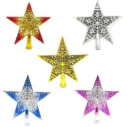 Christmas Ornament Tops Australia - New Plastic Lovely Shiny Xmas Decorative Pentagram Christmas Five-pointed Star Tree Top Decor Table Top Ornament Home Decoration