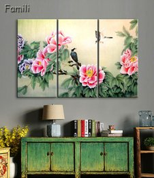 chinese wall canvas prints NZ - 3 Panel Ancient Chinese Brush Painting Print Canvas Lotus pond Koi Art Picture For Living Room Study Wall Decors No Frame