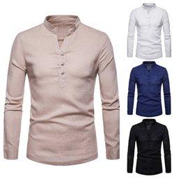e1d433ac49cf 18 Men s autumn men s linen collar collar big size long sleeved shirt with  pure cotton linen shirt mens shirts streetwear Casual