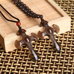 Black Bead Pendants Australia - Natural obsidian Drop Shipping Wholesale jewelry Black Obsidian Carved Cross Lucky pendant free beads necklace for woman man Hand carved Pen