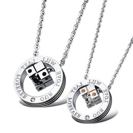 "couple pendants gold Australia - ""Our Love Will Last Forever"" Couple Pendant Necklaces S925 Sterling Silver&18k Rose Gold Fashion Unique Designer Dice Jewelry for Men Women"