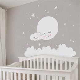 Kids Clouds Wall Stickers Australia - Moon Stars Cloud Wall Stickers For Kids Room Decal Nursery Art Home Decor Girls Decorative Vinyl Babies Q190522