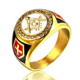 Freemason Rings Wholesale Australia - Stainless Steel Masonic Rings For Men Freemason Symbol G Templar Freemasonry Men Ring Fashion Rhinestone Shield Cross Jewelry