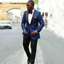 $enCountryForm.capitalKeyWord NZ - Blue Groom Wear Wedding Tuxedos Men Suits Man Blazer Black Shawl Lapel Smoking Jacket 2piece Evening Party Handsome Groomsmen Jacket Pants