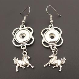 noosa snap earrings 2019 - Alloy Animal Horse Pony Earring Metal 12mm Snap Buttons Socket Earrings Female Girls Noosa Chunks Jewelry cheap noosa sn