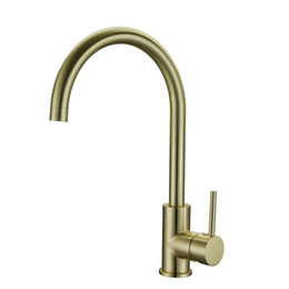 Kitchen Faucet Gold Australia - High Quality Brass Classic Gooseneck Single Lever 1-Hole Kitchen Sink Faucet Mixer Tap Brushed Gold Finish