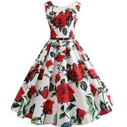 $enCountryForm.capitalKeyWord Australia - New Women Vintage Dress Plus Size Floral Print Pin Up Summer Dresses 50s Rockabilly Party Sundress Feminino Vestidos