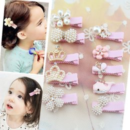 Wholesale 1 Girls Hair Clips Crown Pearls Hairpins Children Hair Accessories Flower Wrapped Bow With Pearls Princess Tiara Barrettes