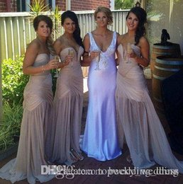 Mermaid Lace Bride Maids Dress Australia - 2018 Cheap nude boho Bridesmaid Dress Sexy Sweetheart Pleats Side Slit Sexy Maid Of The Bride Evening Gowns Formal Occasion Wear Plus Size