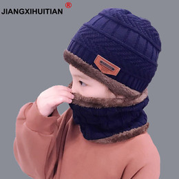 Old Winter Beanies NZ - child 2pcs Winter Balaclava Beanies Knitted Hat and scarf for 5-8-12 years old girls and boys students Hats Caps Ski Hat Cap