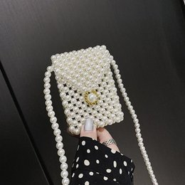 hands bags design NZ - Luxury New Hand-woven Pearl Bag Beaded Women Shoulder Messenger Bag Design Mini Mobile Phone Evening Clutch Purse Bolsa