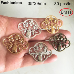 Brass Connectors Australia - 30 Pcs -35*29mm Brass Stamping Vase Charm Connector,Brass Filigree Flowers,DIY Crafts Jewelry Orante Findings,Gold,Silver,Bronze