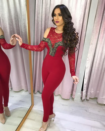 77aa4823b40e Wendywu Hot Sale Sexy Women O-neck Hollow Out Long Sleeve Bodycon Red Lace  Party Jumpsuit Skinny Club Jumpsuit Overalls