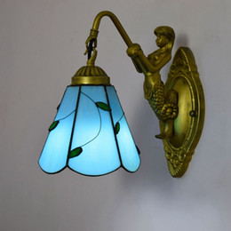 rustic beds Australia - Fashion Tiffany Mediterranean Blue Leaf Lampshade Wall Lamp with Mermaid Body Mirror Light Rustic Stained Glass Bed Wall Light