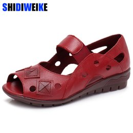 $enCountryForm.capitalKeyWord Australia - 2019 New Spring Summer Wedges Sandals Women Hollow Casual Women Shoes Genuine Leather Sandals Woman Fish Peep Toe Big Size M941 Y19070503