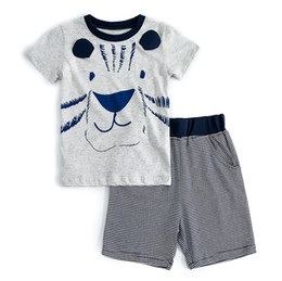 $enCountryForm.capitalKeyWord NZ - kids summer clothing set short sleeve tee and shorts for boys lion cartoon printing gray cotton t shirt
