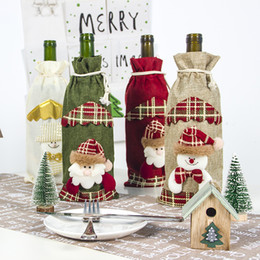christmas tables NZ - Christmas Decorations for Home Santa Claus Snowman Wine Bottle Cover Bag Christmas Gift Bags Dinner Party Table Decorations