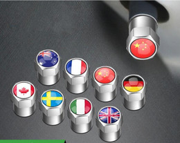 valve caps wholesale Canada - Car Styling Mini Metal Tire Valve Valves Motorcycle Bike Tyre Dust Cap Caps France Germany China Australian Canada Italy American Flag