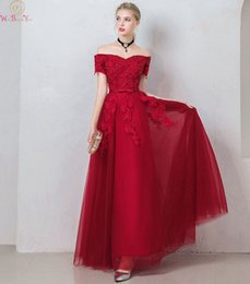 $enCountryForm.capitalKeyWord Australia - Boat Neck Deep Red Prom Gown With Sashes Lace Up Women Long Tulle A Line Elegant High Quality Formal Party Evening Dresses 2019