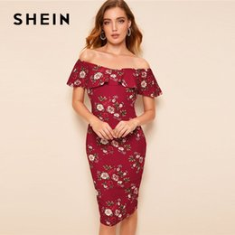 4b64b0180869 SHEIN Floral Print Flounce Foldover Off Shoulder Bodycon Dress Women  Elegant Slim Fit Sleeveless Party Dress Summer Midi Dresses