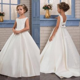 befba477a61c 2019 Simple White Ivory Satin Princess Flower Girl Dresses Backless with Bow  Sash Kids Formal Wear Gowns Birthday Party Pageant Dress