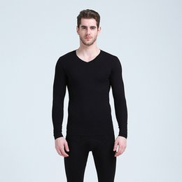 thin thermal underwear UK - 2018 new Long johns men modal thin thermal underwear V neck elastic body shapers Asian size XL to 6XL