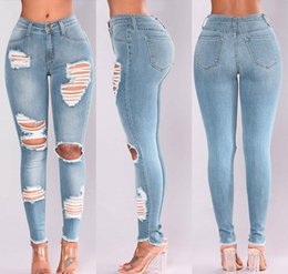 wholesale ripped jeans for women Australia - Pickyourlook Skinny High Waist Ripped Jeans Slim Female Jeans Pants For Women Fashion Pencil Trouser Streetwear Denim Charm Pant