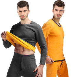 Wholesale mens long underwear pants for sale - Group buy Winter Mens Warm Thermal Underwear Set Long John O Neck Velvet Warm Shirt Pants Piece Sets Thick Plus Velet Long Johns For Man