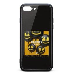 Vente en gros Coque iPhone 8 Plus, Coque iPhone 7 Plus marshmello bastille plus heureuse 9H en verre trempé de protection arrière en TPU pare-chocs pour téléphone absorbant les chocs