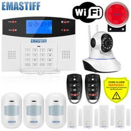 personal security alarm siren Canada - IOS Android APP Wried Wireless Home Security LCD PSTN WIFI GSM Alarm System Intercom Remote Control Autodial Siren Sensor Kit