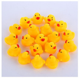 floating bath toys wholesale NZ - 1000pcs lot Wholesale mini Rubber bath duck Pvc duck with sound Floating Duck Fast delivery Swiming Beach