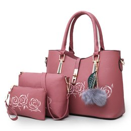 Good Ladies Handbags Australia - good quality 3pcs sets Leather Handbags Women Embroidered Flower Casual Tote Tassel Shoulder Bag Satchel Ladies Purse Bolsas Feminina