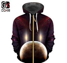 Galaxy clothinG men online shopping - OGKB New D Galaxy Space Printed Zip Up Hooded Hoodies Men women Clothing Tops Hoodies Sweatshirts Fashion Jackets Plus Size XL