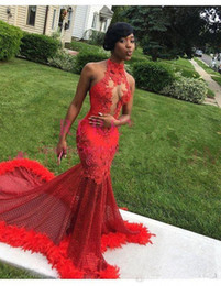 $enCountryForm.capitalKeyWord Australia - 2019 Black Girls Red Halter Neck Prom Dresses Lace Appliques 2k17 18 19 Feather South Africa Formal Evening Occasion Dresses Custom Made