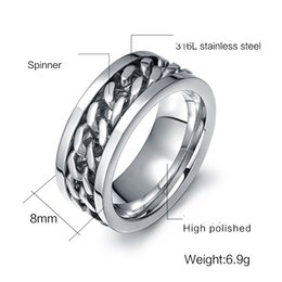$enCountryForm.capitalKeyWord Australia - ZHF Jewelry Spinner Black Chain Ring for Men Punk Titanium Steel Metal Finger Jewelry Male Alliance