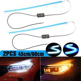 Опт LONGFENG LF56 Гибкий автомобиль DRL Ходовой сигнал поворота Белый Янтарный светодиодный светящийся бар Силиконовые фары дневного света фар