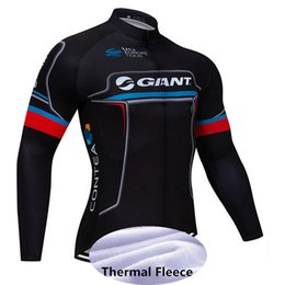 green giant clothing UK - Men Team GIANT ropa ciclismo hombre 2019 Long Sleeve pro cycling jersey mtb bike maillot Winter Thermal Fleece Bicicleta clothing Y051302