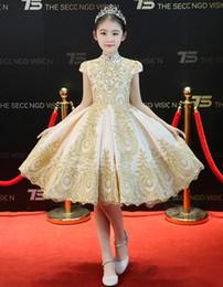 Beauty Champagne Applique Beads Knee Girl's Pageant Dresses Flower Girl Dresses Princess Party Dresses Child Skirt Custom Made 2-14 H309040