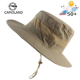 mens hats for sun protection 2019 - Lightweight UPF50+ Summer Sun Hat for Mens Womens Bucket Hat Breathable Mesh Boonie Outdoor Foldable Quickdry UV Protect