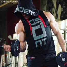 Mens Black Red Tank Top Australia - SHENGLANGYIN Cotton Tank Tops Hoodie Fitness Mens Bodybuilding Workout Tee fashion Muscle Male Activewear Red black white