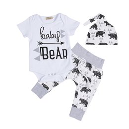 clothes for bears Australia - 3 pieces Baby Bear Print Short Sleeve Bodysuit and Pant Set For Baby Boy Summer Clothes