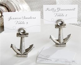"""$enCountryForm.capitalKeyWord NZ - 100 pcs lot antique silver """"Nautical"""" Anchor Place Card Holders Table Decor for Wedding Party bridal shower favor Free shipping"""
