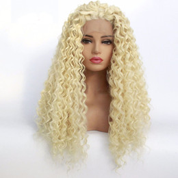Discount 613 blonde synthetic lace wigs - Honey Blonde Deep Curly Hair Lace Front Wig #613 Heat Resistant Fibers Synthetic Lace Front Wig Glueless Half Hand Tied