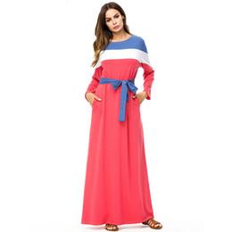 5a4e67a3d6 Fashion contrast color maxi long dress Spring 2019 round neck long sleeve  color block Autumn dresses tall women plus size