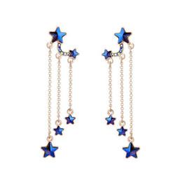 $enCountryForm.capitalKeyWord UK - Hot Sale Blue Stars Tassel Long Earrings Delicate Alloy Vintage Drop Earring for Elegant Girls Women Fashion Jewelry