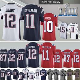 Vente en gros 12 maillots New Patriot de Tom Brady 11 Julian Edelman 87 nouveau maillot Rob Gronkowski 2019, les hommes supérieurs peuvent patcher