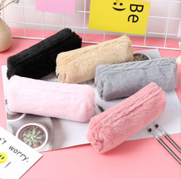 Korean School Stationery Australia - Cute Plush Makeup Bags pencil Case Bag Pencil Case for girls Kawaii large capacity School Supplies Stationery Gifts Cosmetic Bags